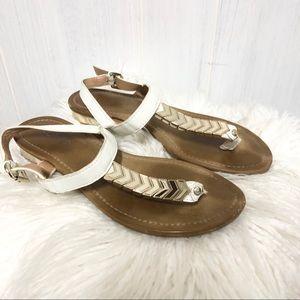 Aldo Shoes - Aldo White and Gold T Strap Sandals